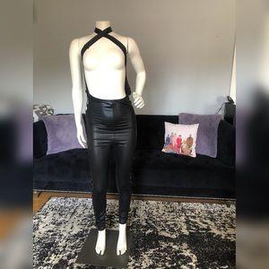 Black Skin Tight Open Torso Body Suit